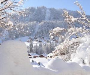 Układanka Ładne pełni śnieżny krajobraz