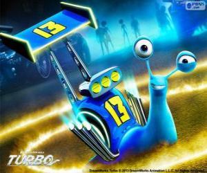 Układanka Ślizg, wyścigi ślimaków z numerem 13