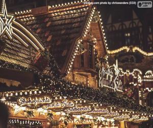 Układanka Świąteczne światła na rynku