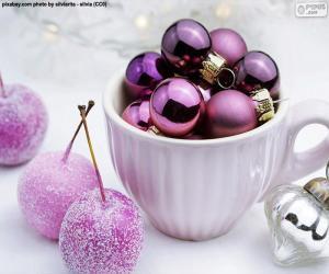 Układanka Świąteczne kulki w filiżance