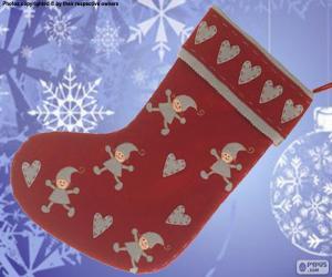Układanka Świąteczne skarpety ozdobione elfy i serca