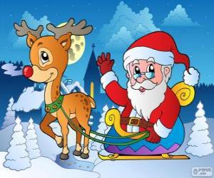 Układanka Świętego Mikołaja w saniach