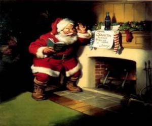 Układanka Święty Mikołaj czytania notatki z kominkiem