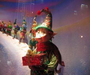 Układanka Święty Mikołaj elf prowadzenia szkatułce
