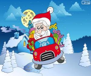 Układanka Święty Mikołaj jazdy samochodem