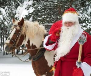 Układanka Święty Mikołaj obok konia