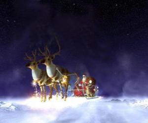 Układanka Święty Mikołaj pływających na jego Boże Narodzenie sanie ciągnione przez magicznych reniferów