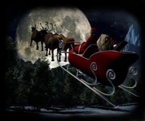 Układanka Święty Mikołaj w jego magia saniach ciągniętych przez renifery latające w noc Bożego Narodzenia