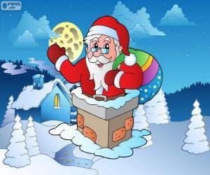 Układanka Święty Mikołaj w komina