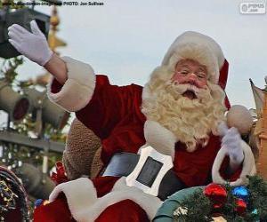 Układanka Święty Mikołaj z uśmiechem wita dzieci