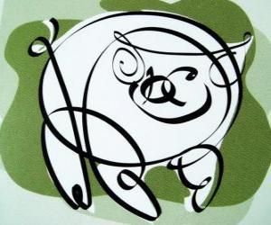 Układanka Świń, znakiem świni, rok świni w chińskiej astrologii. Ostatnia z dwunastu zwierząt chińskiego zodiaku