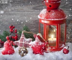 Układanka Światło Boże Narodzenie z Ostrokrzew palenie świec i dekoracji
