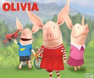 Układanka Świnka Olivia z jego braci William a Ian