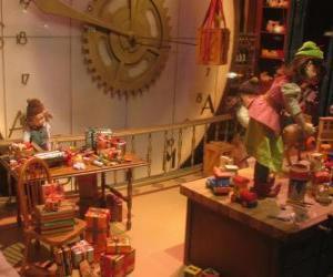 Układanka świąteczną elfy co zabawek na prezenty