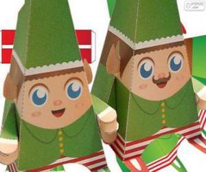 Układanka świąteczną elfy elfy papieru