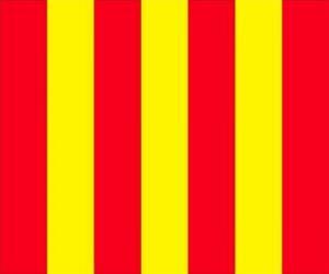 Układanka Żółta flaga z czerwonymi paskami, aby ostrzec kierowców, że tor jest śliski