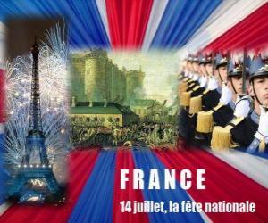 Układanka 14 lipca francuskie święto narodowe upamiętniające szturmu na Bastylię na 14 lipca 1789