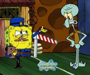 Układanka SpongeBob ubrany jak policjant zwraca przepustkę do Squidward Tentacles