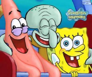 Układanka SpongeBob Kanciastoporty i jego przyjaciół Patryk Rozgwiazda i Skalmar Obłynos