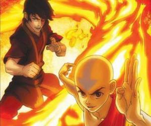 Układanka Aang i Zuko walki