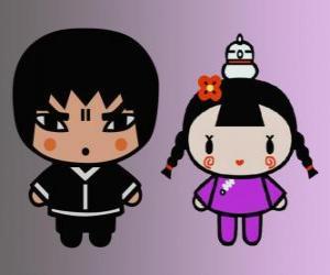 Układanka Abyo i Ching, przyjaciel Pucca z kury i jej przyjaciel Garu Gwon