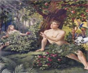 Układanka Adam i Ewa w raju