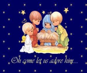 Układanka Adoracji Jezusa dziecka. Precious Moments