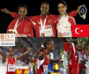 Układanka Alemitu 5000 m mistrz Bekele, Elvan Abeylegesse i Sara Moreira (2 i 3) z Barcelona Mistrzostwa Europy w Lekkoatletyce 2010