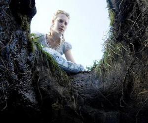 Układanka Alicja (Mia Wasikowska) wpaść w dziurę królik pozwoli Krainie Czarów