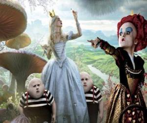 Układanka Alicja, wraz z bliźniąt i Red Queen