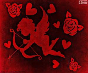 Układanka Amorek, serca i róże
