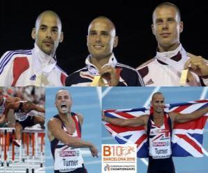 Układanka Andy Turner mistrz 110m przez płotki, Garfield Darien i Daniel Kiss (2 i 3) z Barcelona Mistrzostwa Europy w Lekkoatletyce 2010