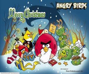 Układanka Angry Birds życząc Wesołych Świąt