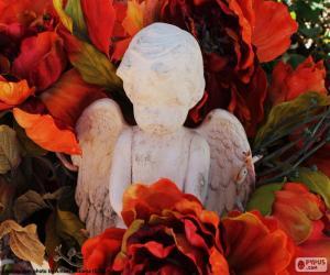 Układanka Anioł wśród kwiatów