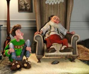 Układanka Artur Świąt Bożego Narodzenia z jego dziadek