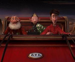 Układanka Artur Świąt Bożego Narodzenia, Dziadek i Przestęp na starym sanki gotowego do dystrybucji ostatniego Dar
