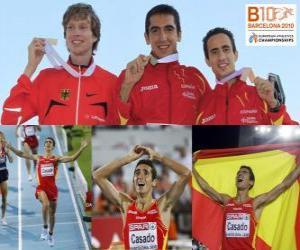 Układanka Arturo Casado 1500 m mistrz i Carsten Schlangen Manuel Olmedo (2 i 3) z Barcelona Mistrzostwa Europy w Lekkoatletyce 2010