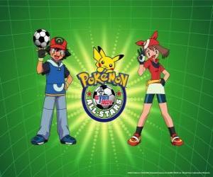 Układanka Ash, May i Pokemon