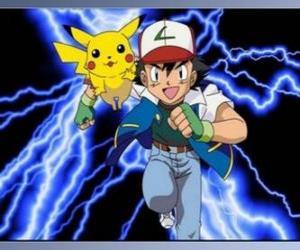 Układanka Ash, trener Pokémon z pierwszą Pokemon Pikachu