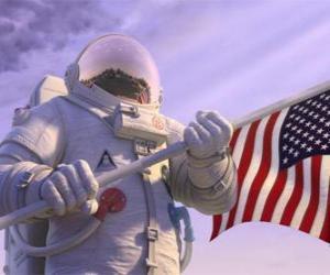 Układanka Astronauta Chuck Baker kroki na Planecie 51 myśląc, że jest niezamieszkana