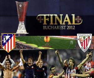 Układanka Atlético Madryt vs Athletic Bilbao. Europa League 2011-2012 końcowy na Stadionie Narodowym w Bukareszcie, w Rumunii