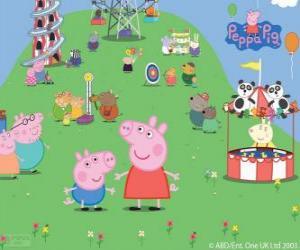 Układanka Atrakcji turystycznych, w parku, w rodzinie Peppa Pig
