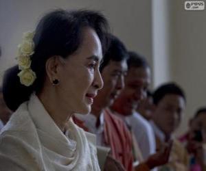 Układanka Aung San Suu Kyi politycznych i działacz Birmański
