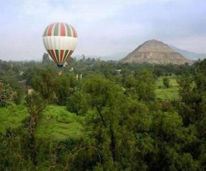 Układanka Balon w krajobraz z pasażerami