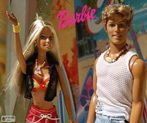Układanka Barbie i Ken w lecie