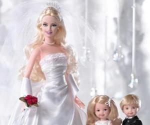 Układanka Barbie jest młodej. Barbie z Suknia ślubna