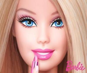 Układanka Barbie jest pomalowane usta