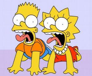Układanka Bart i Lisa krzyczeć