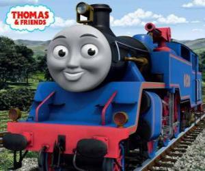 Układanka Belle, duży i odważny niebieski lokomotywa ma dwie armatki wodne do gaszenia pożarów