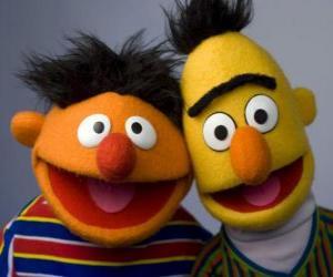 Układanka Bert i Ernie, dwie wielkie znajomych
